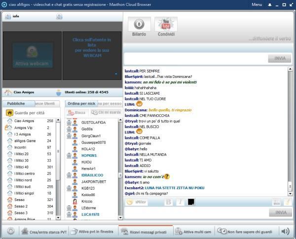 la schermata della chat,riducete ad icona la restante pagina